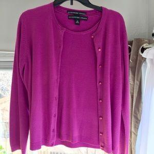 Josephine Chaus 2 piece pink button down sweater M